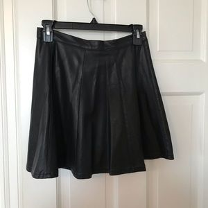 Nordstrom Black Faux Leather Skater Skirt Size XS